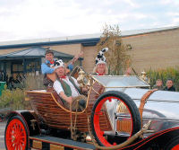 Seth Pitt applies the handbrake as The Mangledwurzels arrive at Cadbury Garden Centre in Congresbury on Chitty Chitty Bang Bang (17 Nov 2007)