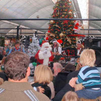 The Mangledwurzels on stage with Santa Clause at Cadbury Garden Centre in Congresbury (17 Nov 2007)