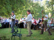 The Mangledwurzels arrive at the wedding reception, Batcombe (3 Sept 2005)