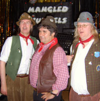 The Mangledwurzels relaxing after their gig at Calne Liberal Club (2 May 2009)