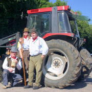 The Mangledwurzels by tractor at the Wellow Trekking Centre