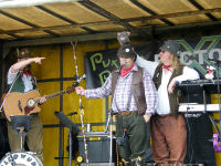 A rat joins The Mangledwurzels on stage at Puxton Park (28 Aug 2008)