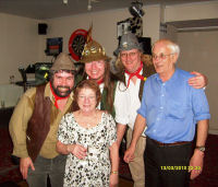 The Mangledwurzels with organisers Daphne and Terry Moody at Shepton Mallet Conservative Club (13 Mar 2010)