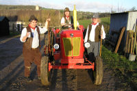 The Mangledwurzels on old tractor at Valley View Farm, Batcombe