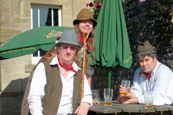 The Mangledwurzels outside the Fox & Badger, Wellow